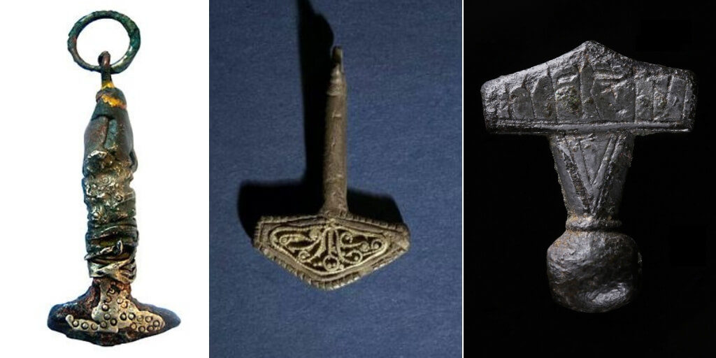 Different style of thor hammer relics from archeology