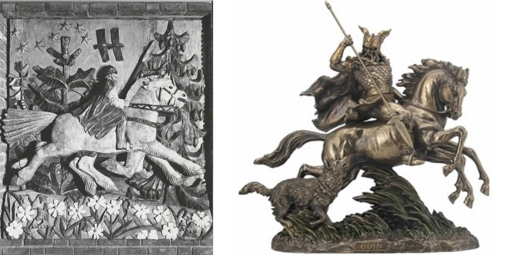 modern representation of sleipnir the horse of odin statue and wood work