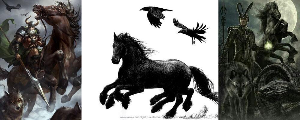 Sleipnir le cheval à huit pattes d'Odin et le fils de Loki