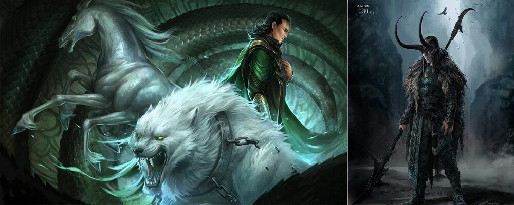 Loki the nordic god father of sleipnir fenrir and the serpent of midgard