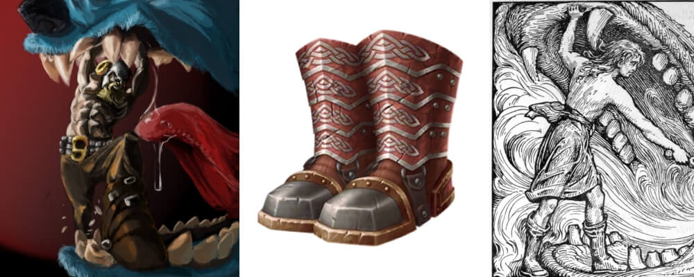 Vidar's Shoes are the legendary weapon used for kick open fenrir's open jaw