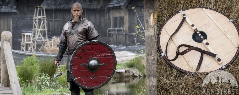 the classic viking shield is in wood, round with flashy colors