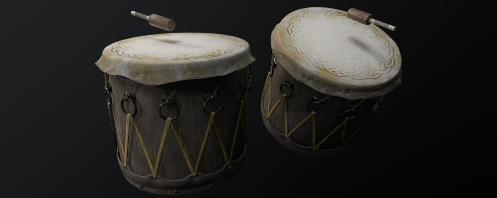 Viking drums, as both musical rhythm instruments, and for religious and practical purposes.