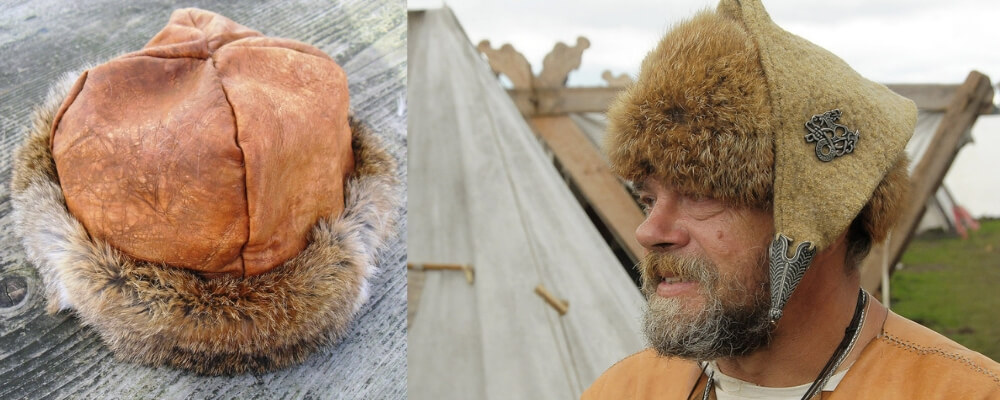 traditional hat of viking in sheepskin leather and furrur. A second model with a frygian style