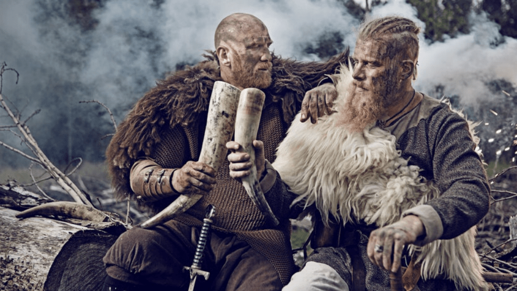 vikings warriors drinking beer after battle