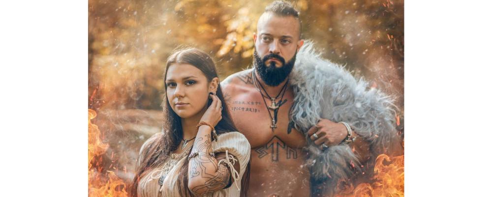 Viking man and woman wearing viking clothes