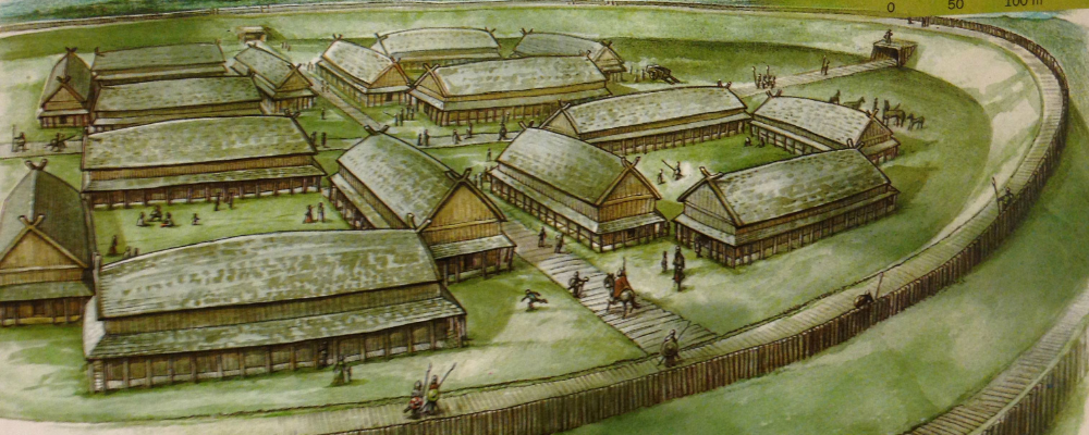 Viking Village in the past with wooden gate