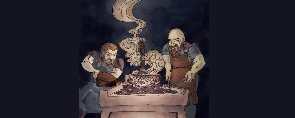 Men creating mjolnir the thor hammer