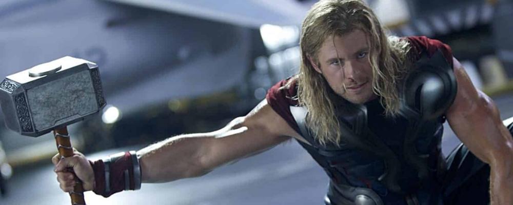 Thor in Marvel holding the Mjolnir