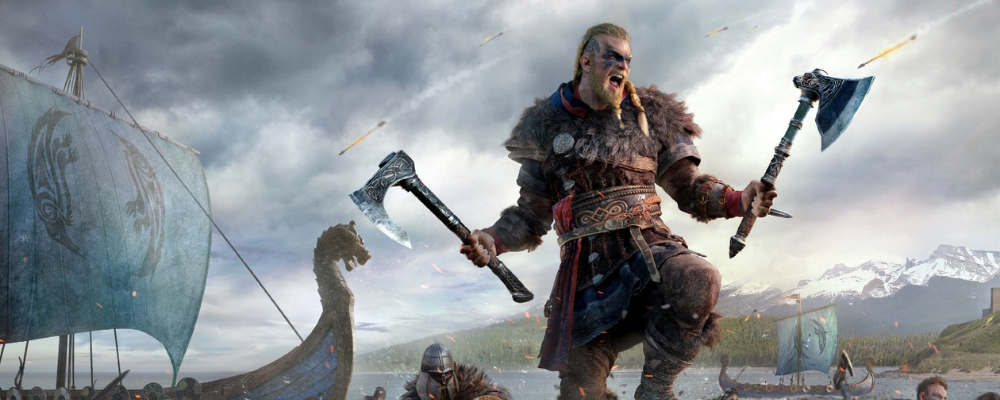 Viking warrior with two axes